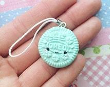 Handmade Mini Oreo Mint Kawaii Polymer Clay Charm Cookie Charm Phone Strap Cute, UK United Kingdom