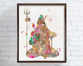Shiva Print, Shiva Art, Shiva Illustration, Watercolor Shiva, Hindu Wall Decor, Meditation Art, Spiritual Art, Yoga Art, Mythology, India