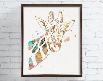 Watercolor Giraffe Portrait, Giraffe Art, Giraffe Print, African Animals, Nursery Art, Kids Room Decor, Childrens Prints, Animal Prints