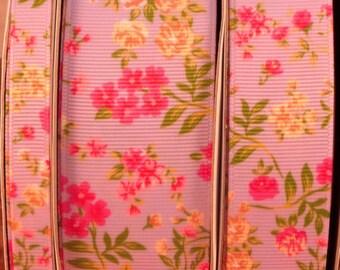 "2 Yards 3/8"", 1"" or 1.5"" Lilac - Orchid Summer Rose Flower Print Grosgrain Ribbon"