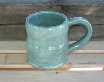 Hand made pottery mug, glazed and fired to cone 6 stoneware clay food safe glazes
