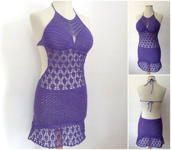 sexy crochet dress, summer dress, crochet sexy dress, beach dress, summer tunic, party dress, violet dress, sexy lace dress, resort dress