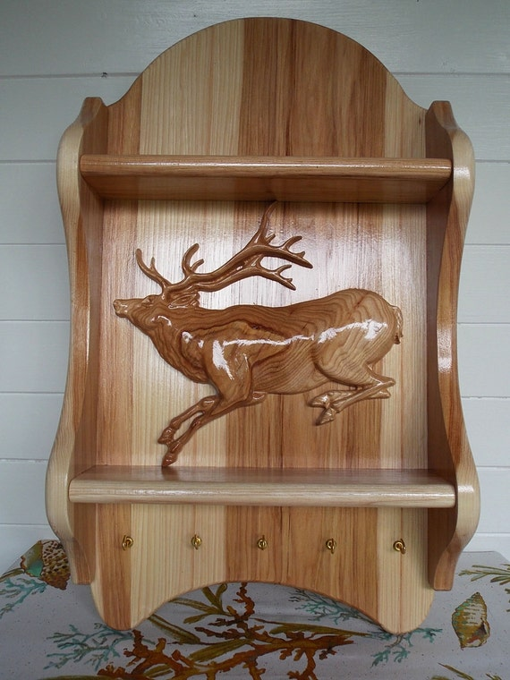 Decorative Wall Shelf With Hooks Mantle Rack : Entryway key holder for wall elk decor hunting