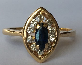 Vintage Sapphire Ring. Diamond Halo. 14K Yellow Gold. Unique Engagement Ring. September Birthstone. 5th Anniversary Gift. Estate Jewelry