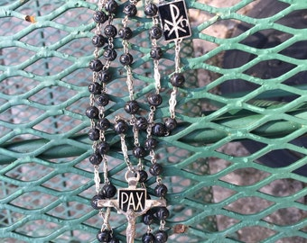 Antique Art Deco PAX sterling silver Holy Rosary Black carved Rosette beads diamond cut silver crucifix AFCO silver Religious Relic