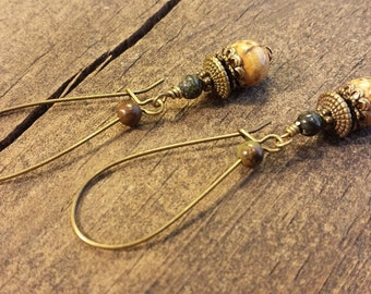 Boho Earrings, Beach Earrings, Jasper Earrings, Drop Earrings, Dangle Earrings, Earthy Earrings