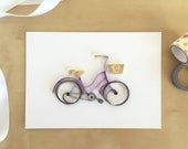 Quilling Paper Purple Ivory Bicycle Wall Decor, Bicycle Silhouette, Bicycle Nursery Decor, Kids Room Bicycle, Girls Bike Art Bike Home Decor