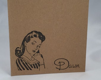 Retro Lady personalized set of 8 note cards