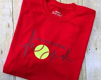LIVE FOR SOFTBALL tshirt Customized for Baseball, Soccer, Basketball or T-ball