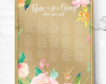Custom seating chart - Wedding seating Chart - Wedding seating plan - Seating chart poster - Seating chart wedding - Reception seating