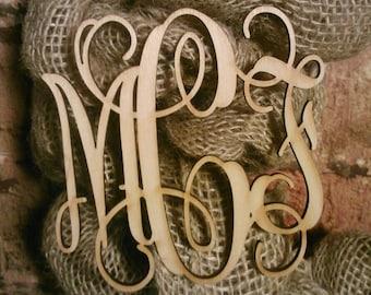 4 inch Wooden Laser Cut Vine Monogram