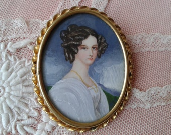 """Brooch """"Miniature"""", painted by hand, period """"1900"""""""