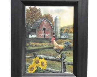 Early Rooster, Chicken, Barn, Sunflower, Art Print, Wall Hanging, Country Home Decor, Handmade, 9X7, Custom Wood Frame, Made in the USA