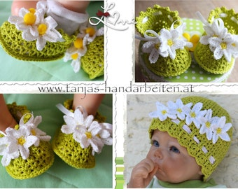 2 Pattern Deal: Daisy Baby Hat and Booties Crochet Patterns
