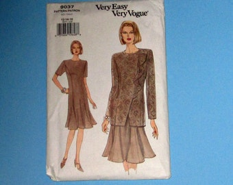 242) Vogue 9037 Size 12 14 16 Very Easy Very Vogue Dress Fitted Dress  Two Lengths Vintage 1994