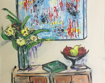 Still Life with Abstract - Original Painting 16 X 20