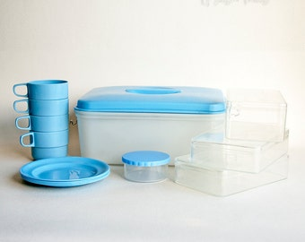 Vintage Retro 1950s/60s Blue STEWART Plastics Picnic Set in Box