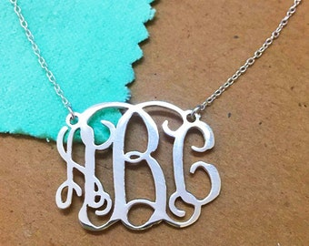 Valentine's Day Gift-Monogram Necklace Sterling Silver,Monogram Necklace, Monogram Name Necklace,Personalized Initial Necklace Jewelry