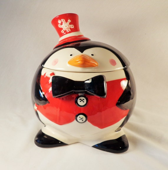 Cookie Jar ! Jolly Round Penguin with Red Vest, Red Hat