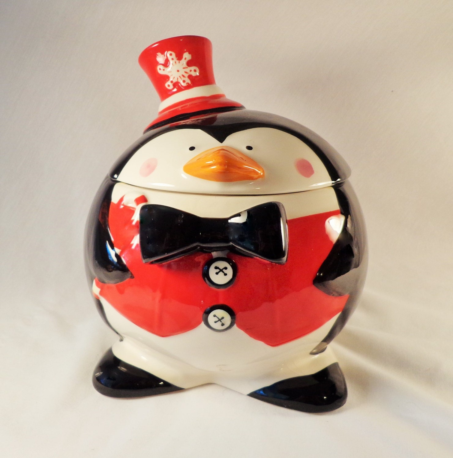 Cookie Jar Jolly Round Penguin with Red Vest Red Hat