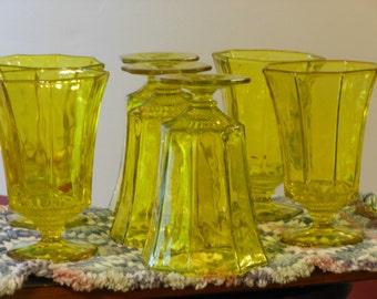 Seven Vintage Vaseline Water Glasses