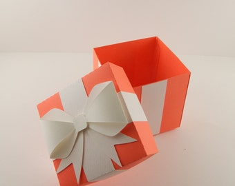 Red Favor Box with Bow  / Bright Red Favor Box / Red Gift Box