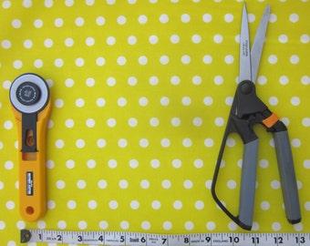 Yellow and White Polka Dot Fabric, Half yard, Quilt Fabric, Craft Fabric, Cotton Fabric