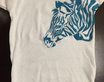 Hand pinted zebra onesie