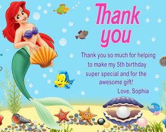 Ariel thank you card, Princess Ariel Thank you card, Little Mermaid thank you card - Digital file