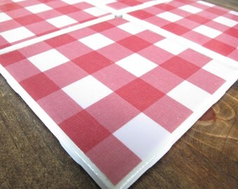 Set of Four Red Tile Coasters