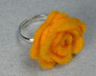 Yellow-Orange Flower Ring -Rose Ring -Felt Flower - Felt Ring -Adjustable Ring -Artificial Flower -Fake Flower -Flower Jewelry -Felt Jewelry