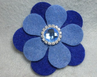 Blue Flower Barrette - Felt Flower - Felt Barrette - Felt Clip - Flower Hair Clip - Artificial Flower - Fake Flower - Flower Clip - Floral