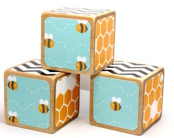 Bumble Bees - Baby Blocks - Baby Shower Decor - Wooden Blocks - Name Blocks - Centerpieces - 2 Inch