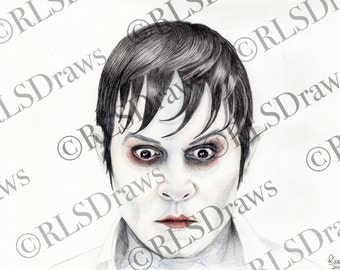 Dark Shadows, Johnny Depp PRINT Portrait Character Drawing A4