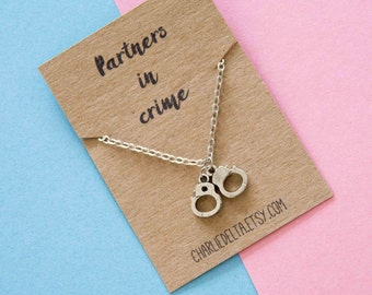 Partners in crime necklace - best friend necklace - best friend gift - fun friendship gift