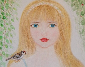 Fairyland Princess and Bird Acrylic Painting/Original Painting/Fairyland Girl in Forest/Canvas 8 x 10 Art