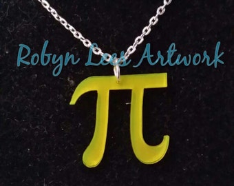 Fluorescent Neon Yellow Pi Symbol Necklace on Silver Chain or Black Faux Suede Cord