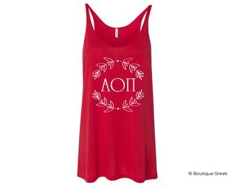 AOII Alpha Omicron Pi Wreath Flowy Sorority Tank