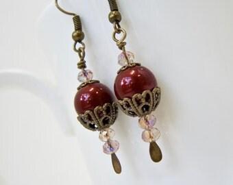 Burgundy earring, neo Victorian jewelry cranberry earring  long drop earring steampunk jewelry