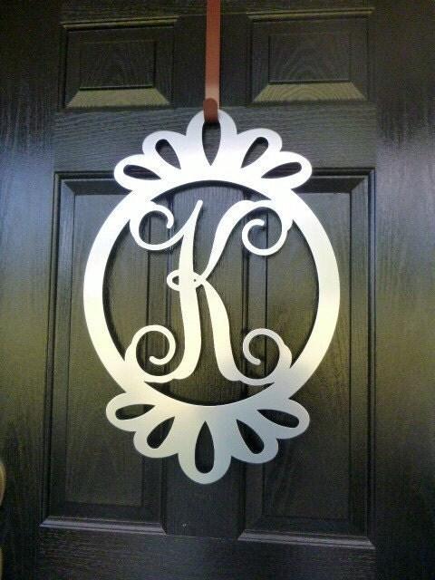 Front Door Wreath Door Decorations Monogram Door Hanger