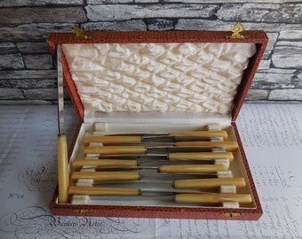 A set of Vintage Butter Knives  Boxed And Unused