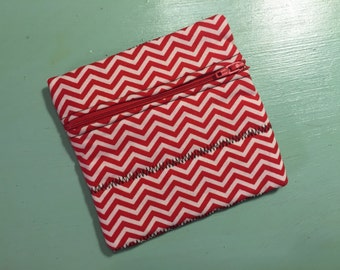 Red Chevron Zipper Pouch