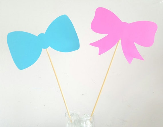 Gender Reveal Centerpiece Sticks Bow Tie And Hair Bow