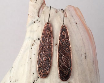 Copper Earrings, Bird Earrings, Hypoallergenic Earrings, Vintage Look Earrings, Nature Earrings, Drop Earrings, Boho Earrings