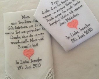 Two personalized wedding hankie's mother & father of the bride gift handkerchiefs.