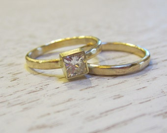 Princess Cut Forever One Moissanite Bridal Set |Modern Recycled 14K Yellow Gold| Hammered Bands| Ethical Eco Friendly