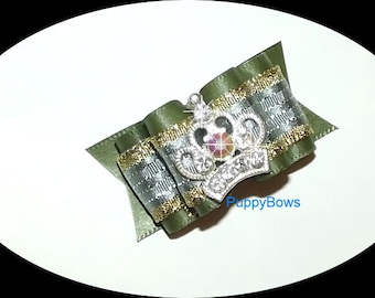 "Puppy Bows ~RHINESTONE CROWN dog hair bow or clip 7/8"" Shih Tzu bands or barrette dog grooming"