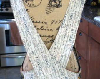 Cross Back apron - Sm/Med fully lined or reversible