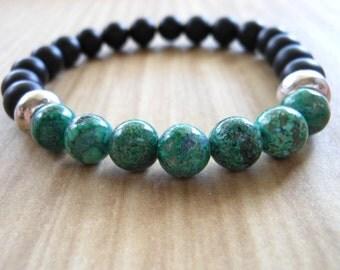 Mala Bracelet, Chrysocolla, Healing & Balancing, Mala Bracelet, Yoga, Buddhist, Meditation, Prayer Beads