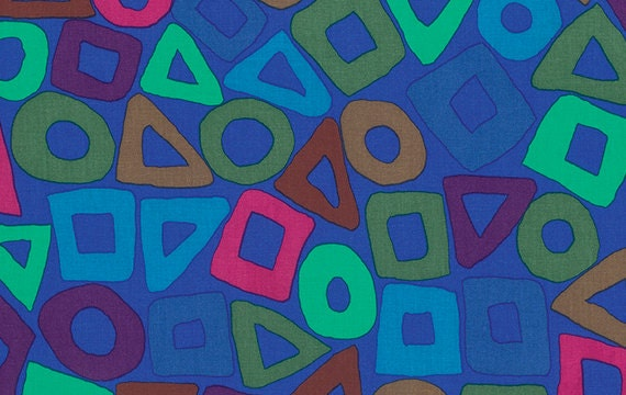 PUZZLE in COBALT BLUE bm057 Brandon Mably for Kaffe Fassett Collective Sold in 1/2 yd increments